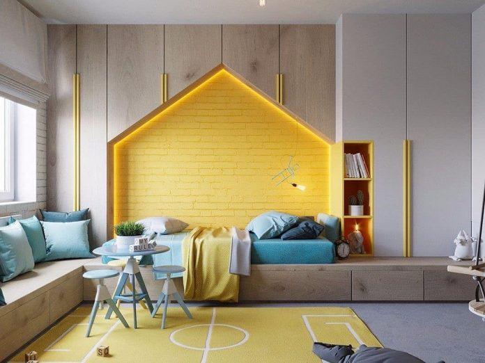 štýlová detská izba so žltými doplnkami