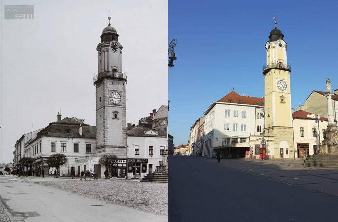historická podoba a aktuálna podoba šikmej veže v Banskej Bystrici
