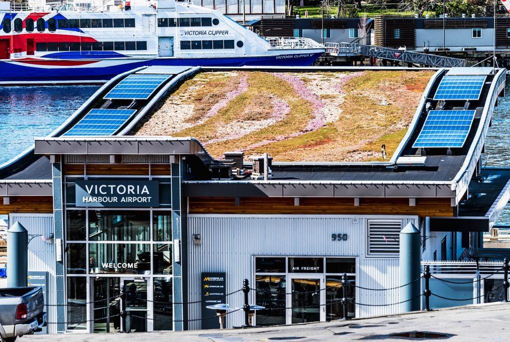 budova s moernou zelenou strechou a ekosystémom