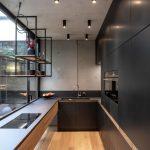 elegantná matná kuchynská linka s výhľadom do átria rodinného domu