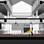 vizuálny návrh multifunkčnej sály s javiskovou a diváckou časťou