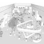 vizuálny návrh food courtu v obchodnom centre s detailom na jednotlivé tribúny
