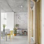 deliaca priečka v interiéri podporujúca surovší vzhľad interiéru