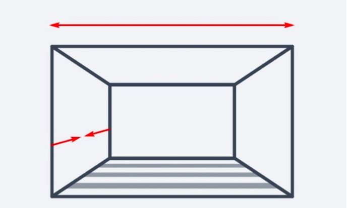 návrh miestnosti so zvýraznenými jednotlivými stenami pre zvýšenie komfortu a optické zväčšenie