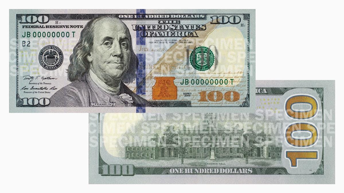 sto dolárová bankovka. Prezident Benjamin Franklin