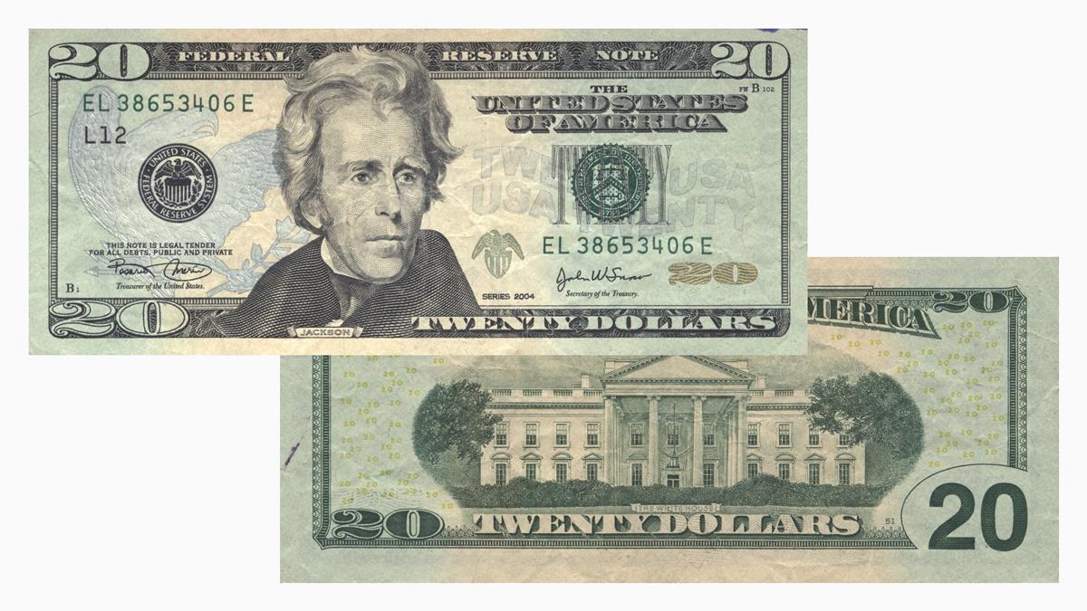 dvadsať dolárová bankovka