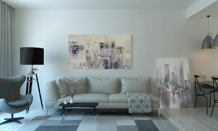moderná a dizajnová obývacia miestnosť s trendy prvkami