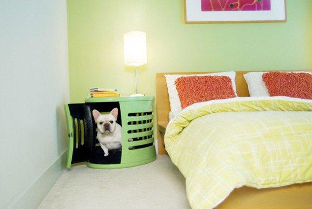 psia búda zakomponovaná do nočného stolíka