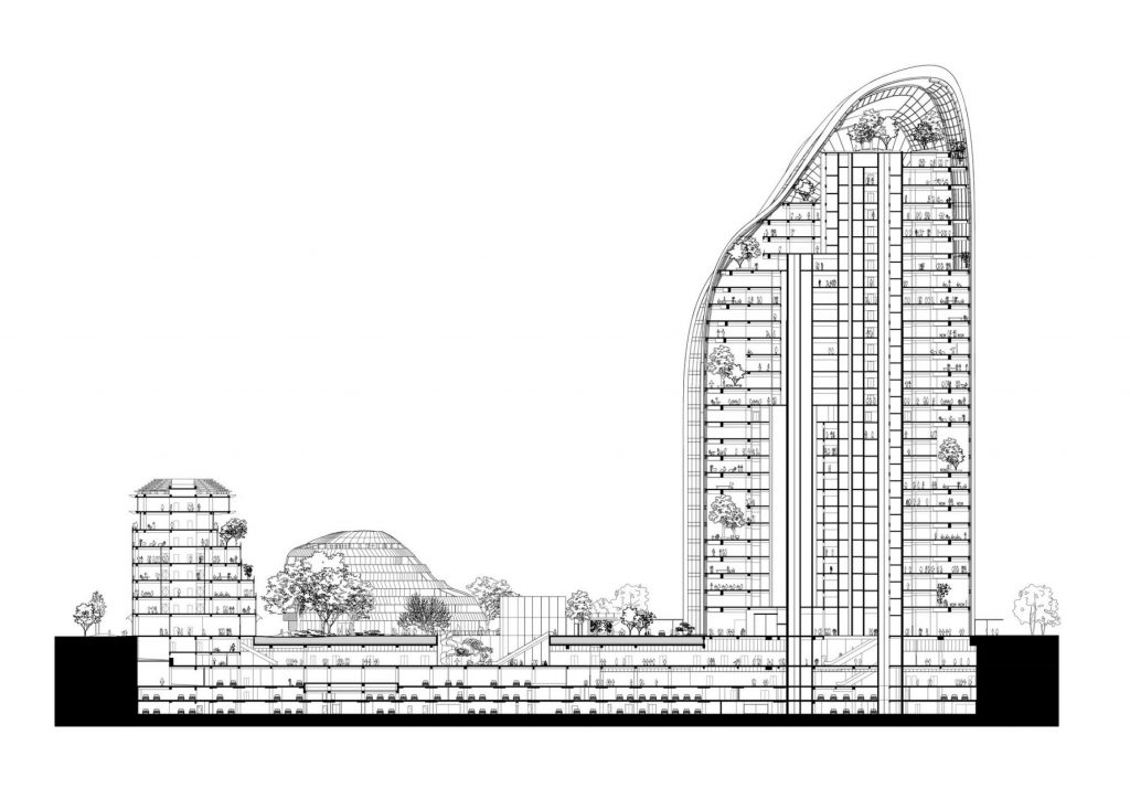 Chaoyang Park Plaza v business centre v Pekingu - technický nákres
