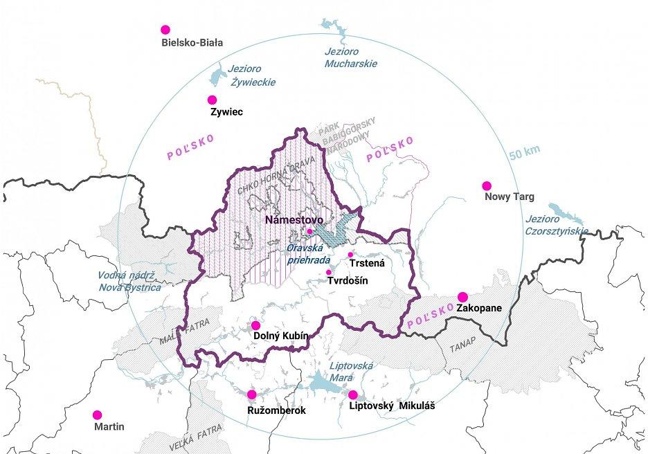 Región Orava mapka
