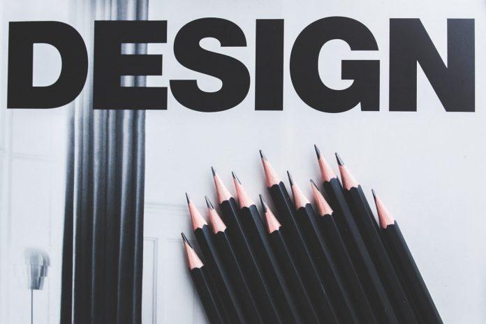 jednoduché logo so slovom DESIGN a čierne ceruzky