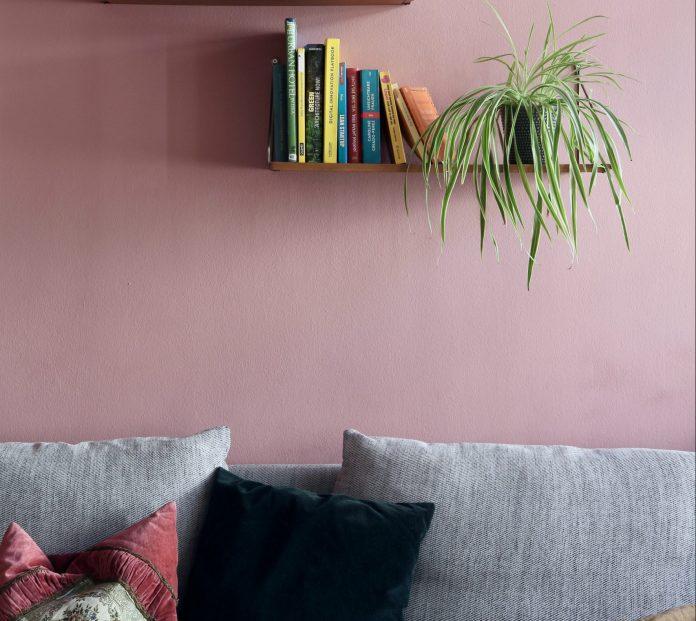 Ružová stena s poličkami a sivými vankúšmi