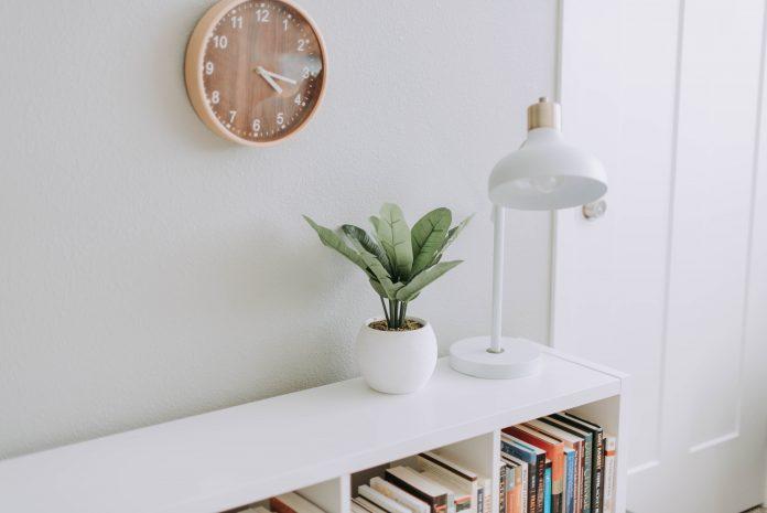 Polička s knihami, lampou a kvetinou